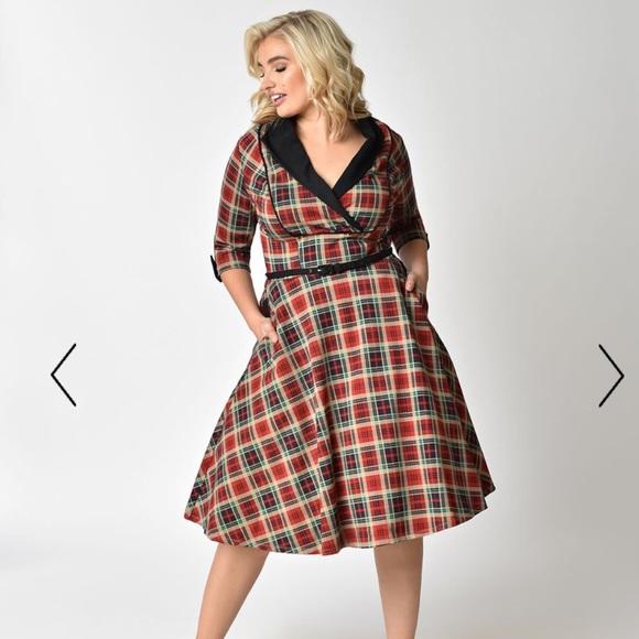 Unique Vintage Dresses   Plus Size 1950s Style Red Plaid 34 Swing ...